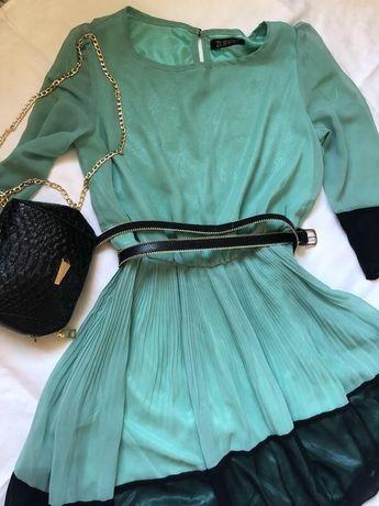 Платье женское шифоновое в складки плиссе мятное бирюзовое нарядное