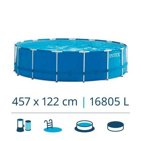 PISCINA INTEX METAL FRAME (457X122CM) C/BOMBA, ESCADA, COBERTURA, BASE
