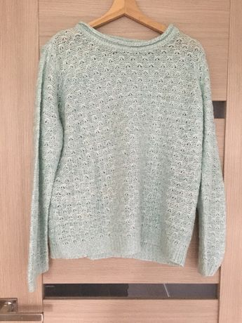 Piękny miętowy jasnoniebieski sweter M&Co 16 Oversize