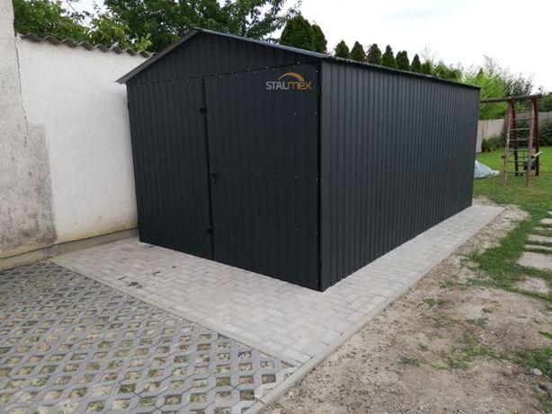 Garaż blaszany , dach II spadowy , blacha grafit ( mat )