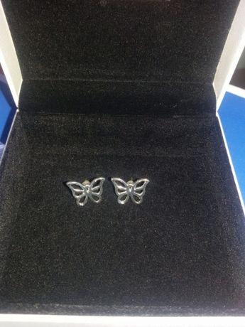 Kolczyki damskie ażurowe motylki srebrne próba 925 Nowe