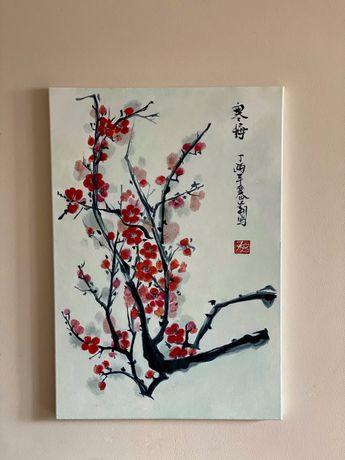 Интерьерная картина/китайская живопись/цветение сакуры