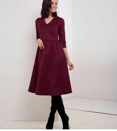 Нова замшева сукня міді M-L