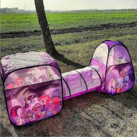 Большая детская игровая палатка дитячий намет с тоннелем палатка 3в1