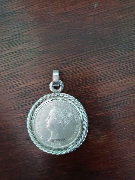 Moeda de 1000 reis em prata D. Maria II - 1845