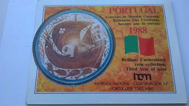 Moedas, carteira anual BNC da INCM.Todas as Moedas do Ano 1988.Só 130€