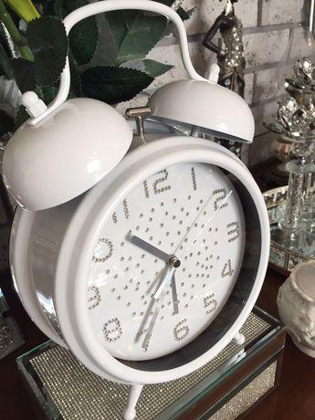 Zegar budzik duży ozdobny biały z diamęcikami glamour błyszczący