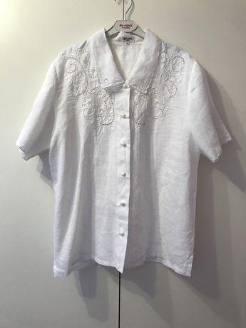 Рубашка белая лён льяная вышивка ришелье Италия 40 р М Milano лето