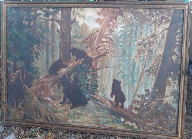 "Старинная картина 1962 года.""Утро в сосновом лесу"" Ивана Шишкина."