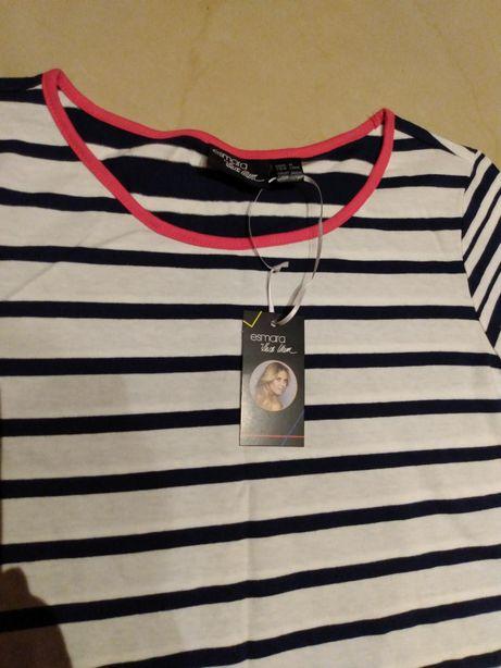 Koszulka bluzka  t-shirt biało-granatowy paski różowa M-L Nowa z metką