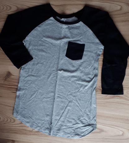 Szara bluzka z czarnymi elementami sinsay