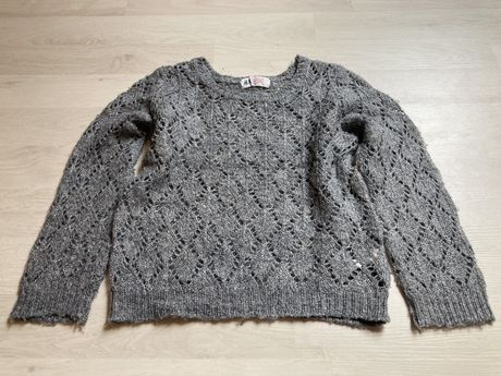 Sweter sweterek H&M koloru szarego ażurowy r. 98/104