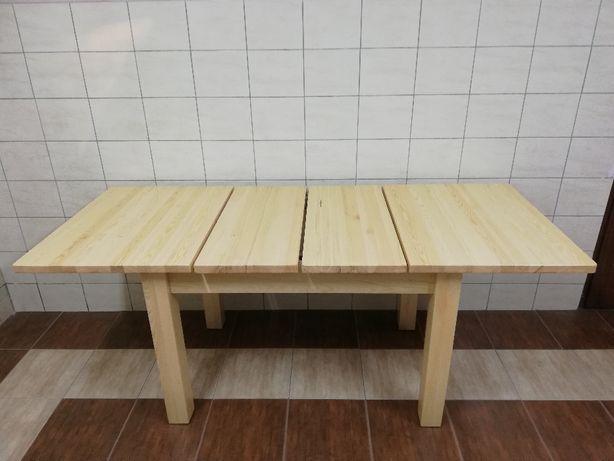 Stół drewniany sosnowy rozkładany 120x80+2x35 wkładk 6 krzeseł-nowe