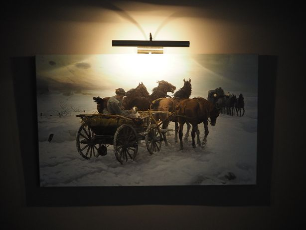 płótno obraz olej zima sanie konie