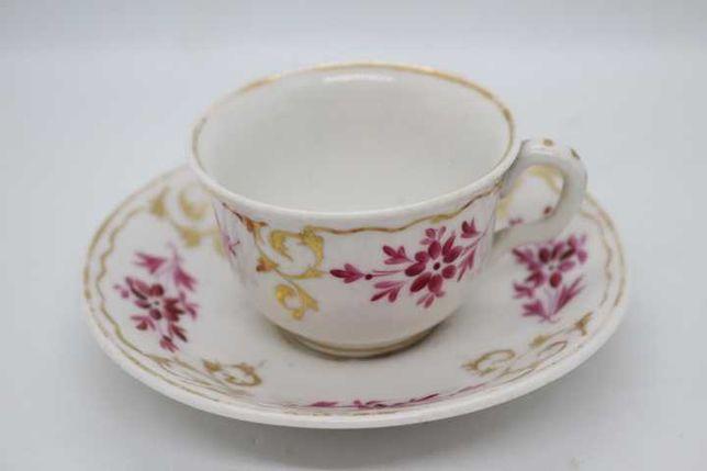 RARA Chávena Café Vista Alegre Flor Ouro Rosa Pintura há Mão 1870