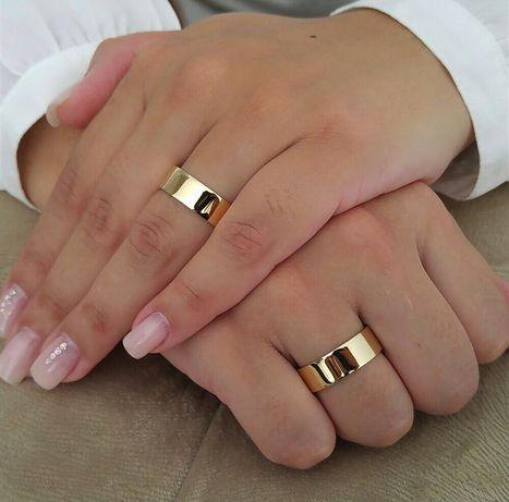 Para Płaskich Złotych Obrączek Ślubnych