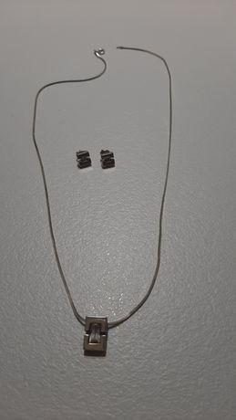 Srebrny łańcuszek kolczyki