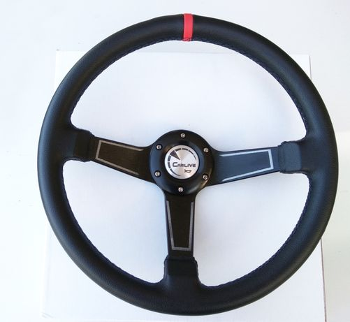 Volante Estilo SPARCO - Pele Sintética Rally/4x4 Preto Vermelho