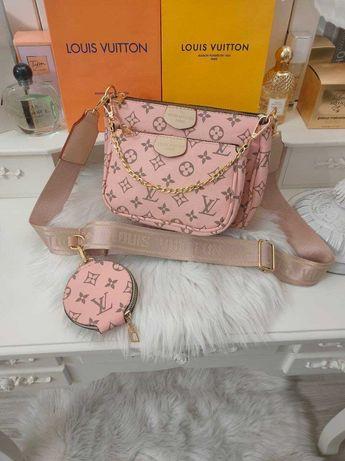 Сумочка женская розовая Louis Vuitton 3в1 Клатч Сумка Луи Витон