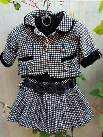 Теплая школьная форма платье + пиджак