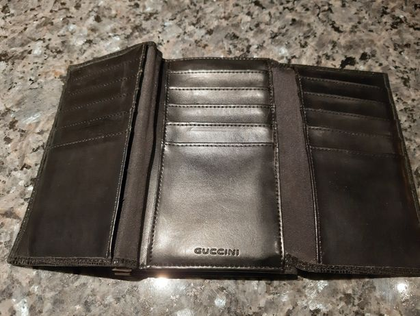 Stary portfel guccini czarny sprzedam zamienię vintage prl boho unisex