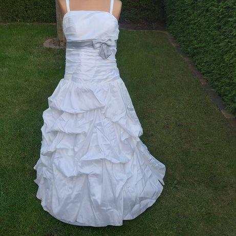 Suknie ślubne biel ivory tren tiul