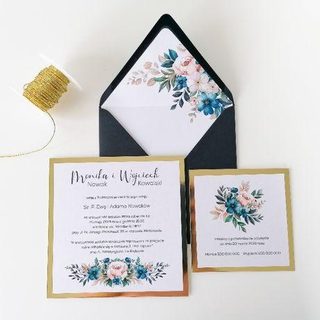 Zaproszenia na ślub GLAMOUR granat i róż