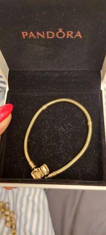Pandora bransoletka pr.585 złoto oryginalna 18 cm.