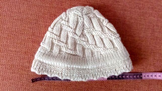 одинарная плотная теплая шапка вязаная шерсть