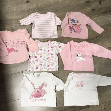 Bluzeczki,bluzki dla dziewczynki 0-3 miesiecy /0-6 miesięcy Next /M&S