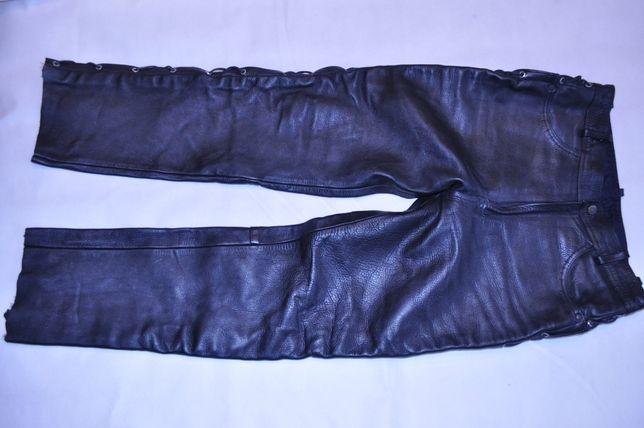 Spodnie skórzane 34, plecione AMX, krój jeansów Chopper Harley