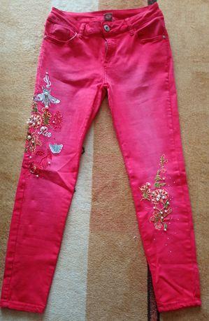 Jeansy spodnie kwiaty perełki haft rurki M/l