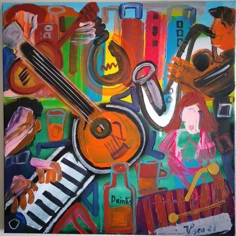 Acrílico sobre tela, 50x50 cm, 2021, Título: músicos na cidade