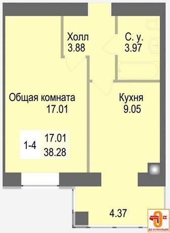 БЕЗ КОМИССИИ! Продам однокомнатную квартиру с ДОКУМЕНТАМИ. Дом готов!