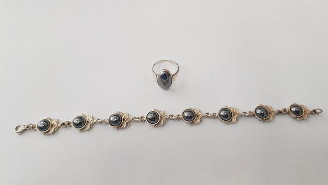Piękny komplet/ Bransoletka + pierścionek/ srebro 925/ 18 gram/ 19.5cm