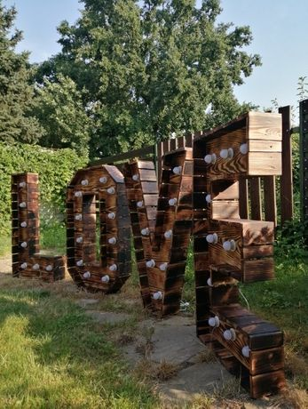 Napis LOVE Rustykalny, ścianka rustykalna
