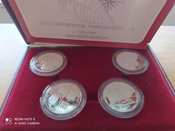 Descobrimentos portugueses 4 moedas de 200 escudos, prata proof