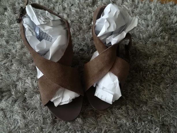 nowe skórzane skóra sandały na platformie nude czekoladowe brązowe  40