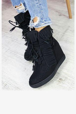 Buty koturny frędzle