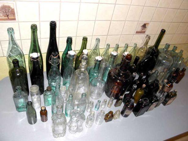 Stare zabytkowe pamiątkowe butelki butelka wódka wino piwo apteczna