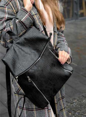 """Модный рюкзак """"змеиный принт"""" черный женский, школьный, повседневный"""