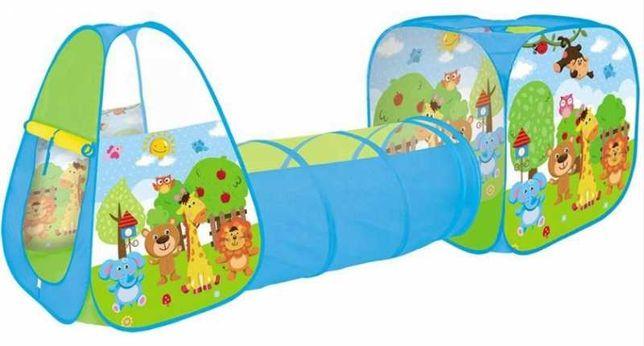 Zestaw Namiotów 3W1 Zwierzątka Namiot Domek Tunel Plac Zabaw