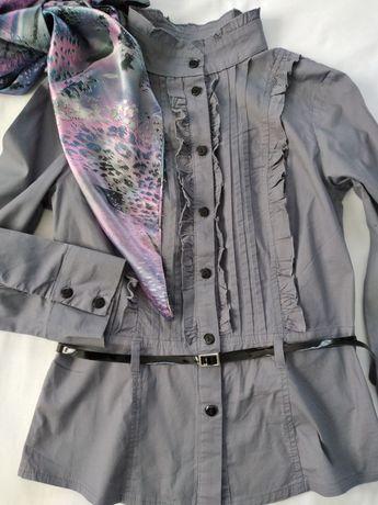 Блузка женская с поясом и платком