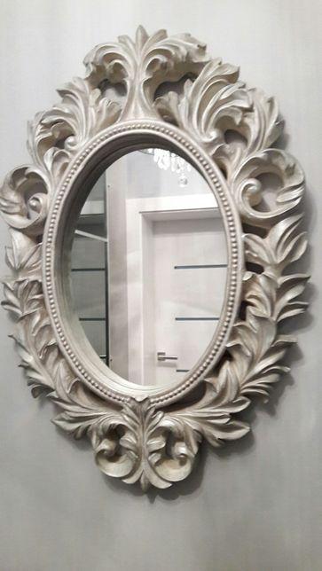 Piękne unikatowe lustro Barocco w grubej posrebrzanej ramie