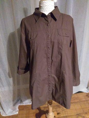 Brązowa koszula elastyczny materiał, podwijane rękawki rozmiar 48 50
