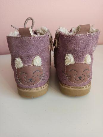 Reserved 24/25 skórzane buty ze sztucznym futerkiem i uroczym kotkiem