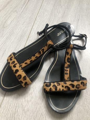 Sandały czarne Zara panterka brązowe niskie rozmiar 38