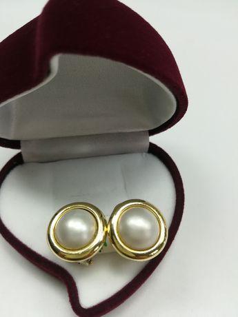 Złote kolczyki  perła perły złoto  585