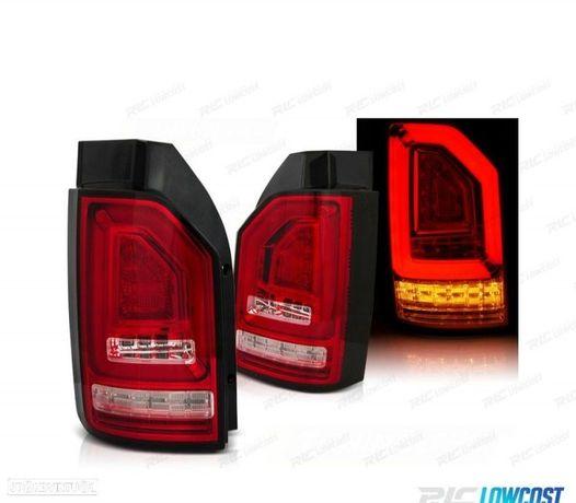 FARÓIS TRASEIROS LED DINÂMICO VW T6 15- RED / CRYSTAL (VERMELHO / CRISTAL)