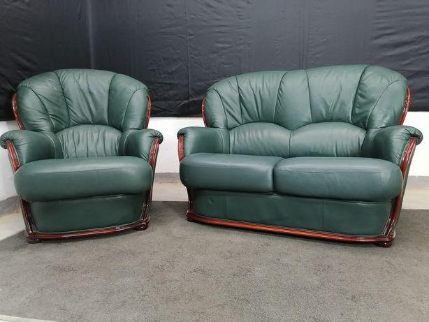 кожаный гарнитур . шкіряний комплект, диван і крісло, пуфік